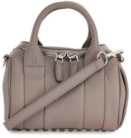 Alexander Wang Mini Rockie Leather Satchel Bag, Mink Gray $595 thestylecure.com