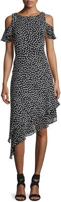 Neiman Marcus Cold-Shoulder Polka-Dot Asymmetric-Hem Dress, Black/White $89 thestylecure.com