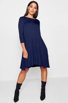boohoo 3/4 Sleeve Swing Dress