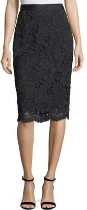 Lela Rose Floral Corded Lace Pencil Skirt