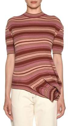 Marni Asymmetric-Hem Short-Sleeve Crewneck Striped Knit T-Shirt