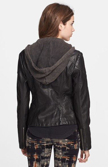 Free People Hooded Faux Leather Moto Jacket 3