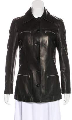Michael Kors Leather Zip-Up Jacket