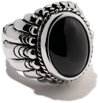 The Great Frog large feather set stone ring