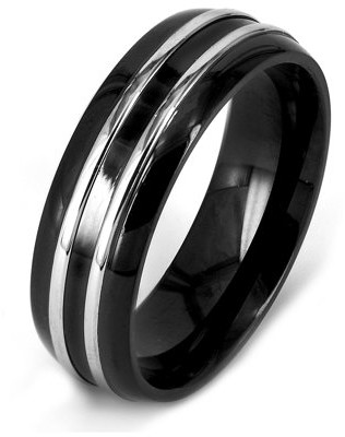 West Coast Jewelry Crucible Black Plated Stainless Steel Striped Ring (8mm)
