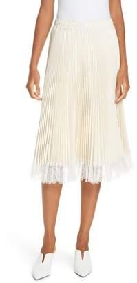 Clu Pleated Metallic Lace Trim Skirt