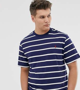 Polo Ralph Lauren Big & Tall icon logo stripe t-shirt in newport navy/nevis