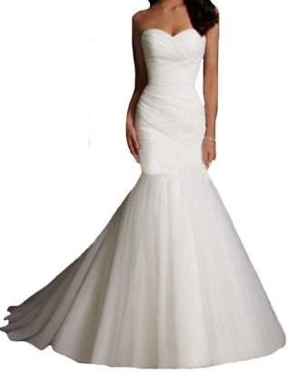 D.W.U Tulle Pleated Mermaid Wedding Gowns Vintage Bridal Dresses US