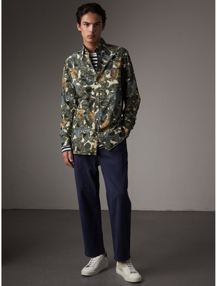 Burberry Beasts Print Cotton Poplin Longline Shirt $375 thestylecure.com