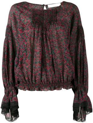 Chloé printed lace-trim blouse