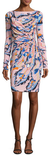 Emilio Pucci Emilio Pucci Printed Long-Sleeve Boat-Neck Dress, Pink/Multi