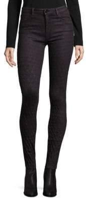 Emma Eggplant Knee Embroidery Skinny Jeans