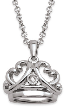 Bed Bath & Beyond My First Diamond Sterling Silver Diamond Crown Necklace (.005 cttw, I1-I2 Clarity, H-I Color)