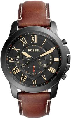 Fossil Grant Leather and Stainless Steel Chronograph Strap Watch