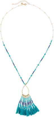Panacea Beaded Teardrop Fringe Pendant Necklace