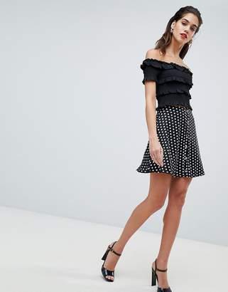 Missguided Polka Dot Popper Detail Skater Skirt