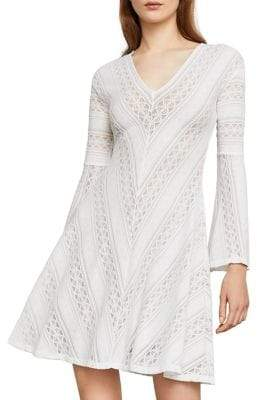 BCBGMAXAZRIA Bell Sleeve Knit A-Line Dress