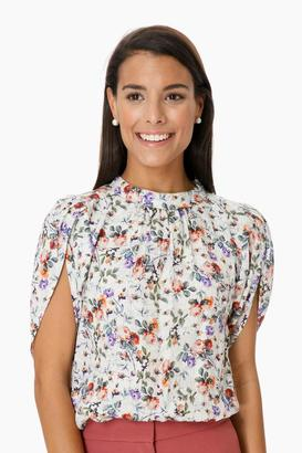 Rebecca Taylor Ruby Floral Short Sleeve Top