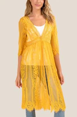 francesca's Raleigh Lace Maxi Kimono - Marigold