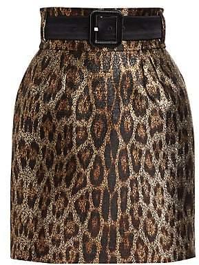 Roberto Cavalli (ロベルト カヴァリ) - Roberto Cavalli Roberto Cavalli Women's Leopard Jacquard Belted Mini Skirt