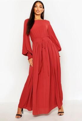 boohoo Shirred Waist & Cuff Woven Maxi Dress