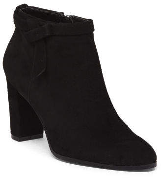 Suede Ankle Boots With Bow