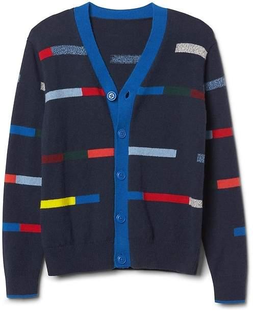 Crazy stripe button cardigan
