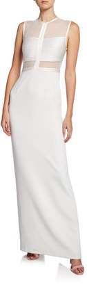 Halston High-Neck Sleeveless Column Gown w/ Mesh Top & Strip Detail