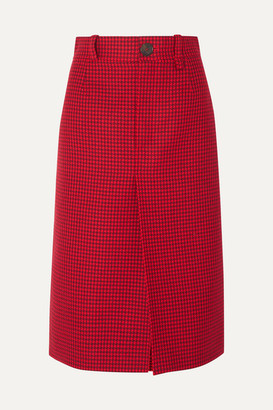 Balenciaga Houndstooth Wool Skirt - Red
