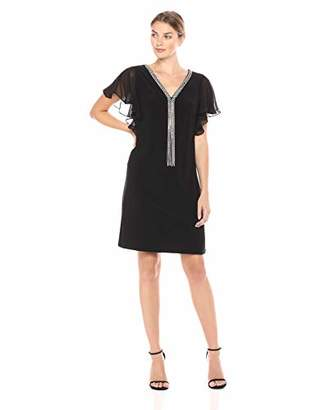 MSK Women's Chandelier Necklace Cocktail Dress with Flutter Sleeve