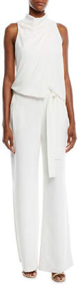 Halston Sleeveless Cowl Draped Jumpsuit w/ Sash