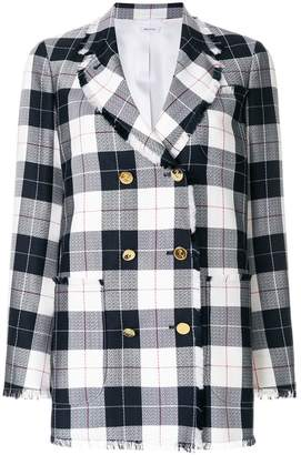 Thom Browne Double Breasted Sack Jacket With Fray In Large Buffalo Check Wool/cotton Sable