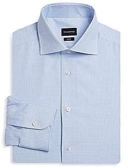 Ermenegildo Zegna Men's Slim Fit Grid Cotton Dress Shirt