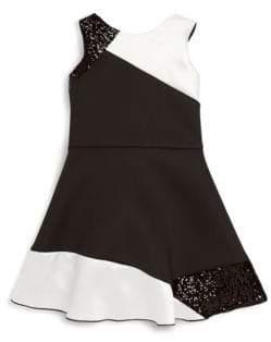 Zoë Ltd Girl's Velvet Colorblocked Dress
