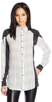 Dolce Vita Women's Striped Boyfriend Washed Silk Allie Long Sleeve Button Down Top