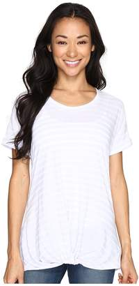 Allen Allen Twist Front Crew w/ Roll Hem Sleeves Stripe Women's T Shirt