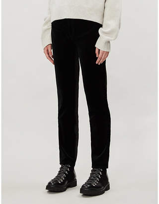Emporio Armani High-rise straight velvet jeans