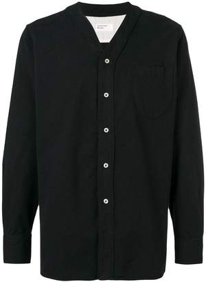 Universal Works collarless buttoned shirt