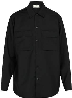 Acne Studios Houston Mohair And Wool Blend Shirt - Mens - Black