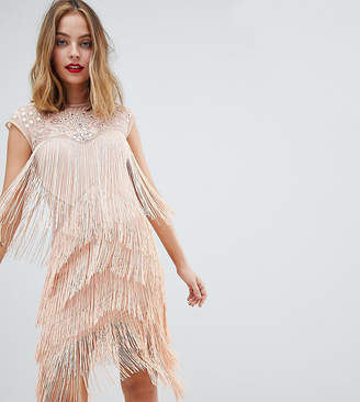 Asos Design Petite Fringe & Sequin Sheer Midi Dress
