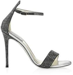 Rene Caovilla Satin Leather Rhinestone Sandals