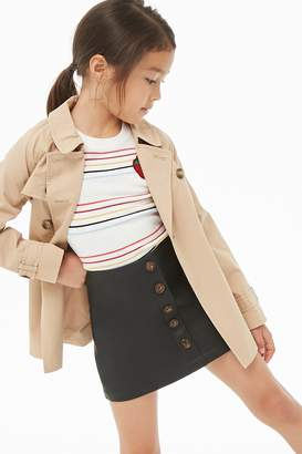 Forever 21 Girls Faux Leather Button Mini Skirt (Kids)