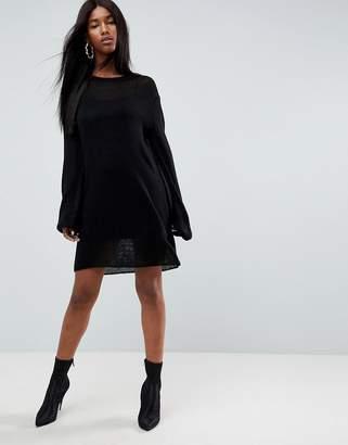 Asos Midi Knitted Dress in Sheer Knit