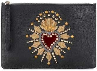 Dolce & Gabbana Embellished leather pouch