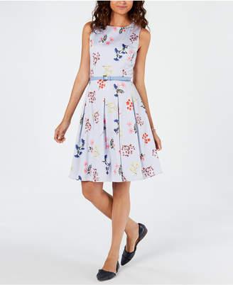 Tommy Hilfiger Belted Floral Striped Fit & Flare Dress