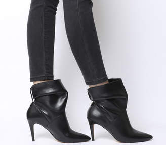 69ce847fb34 Office Aura Dressy Ruched Mid Heel Ankle Boots Black Leather
