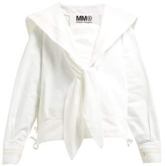 MM6 MAISON MARGIELA Sailor Collar Denim Blouse - Womens - Cream