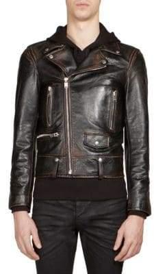 Saint Laurent Martini Cat Leather Moto Jacket