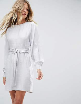 Asos Design Jacquard Belted Mini Dress