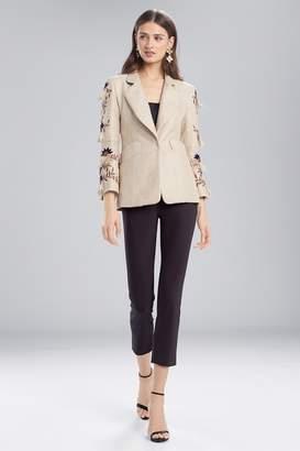 Josie Natori Straw Mixed Media Blazer Jacket